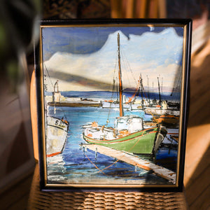 Vintage French Original Boats and Dock Oil Painting