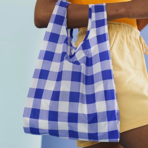 Reusable Tote in Big Check Blue