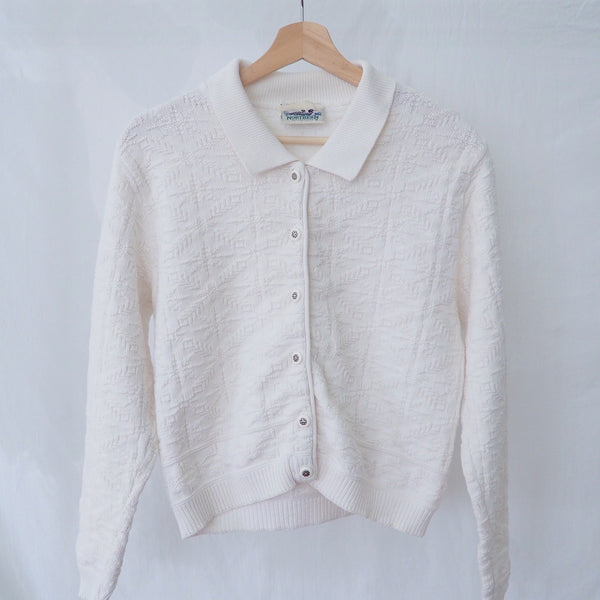 Vintage White Collared Cardigan with Detailed Buttons | Northern Reflections Sweater | 1990s Cardigan | J'adore Beddor | Golden Rule Gallery | Excelsior, MN