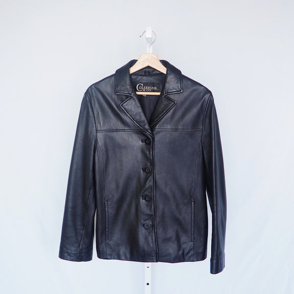 Vintage Colebrook & Co Black Leather Jacket | 1990s Black Leather Jacket | J'adore Beddor Vintage | MN Vintage Finds | Golden Rule Gallery | Excelsior, MN