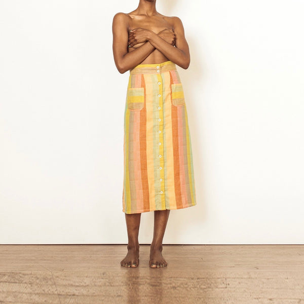 Ace & Jig Skirt | Reversible Bo Skirt in Sorbet and Citrus | Autumn Midi Skirt | Rainbow Muted Skirt | Ace & Jig Apparel | Golden Rule Gallery | Excelsior, MN