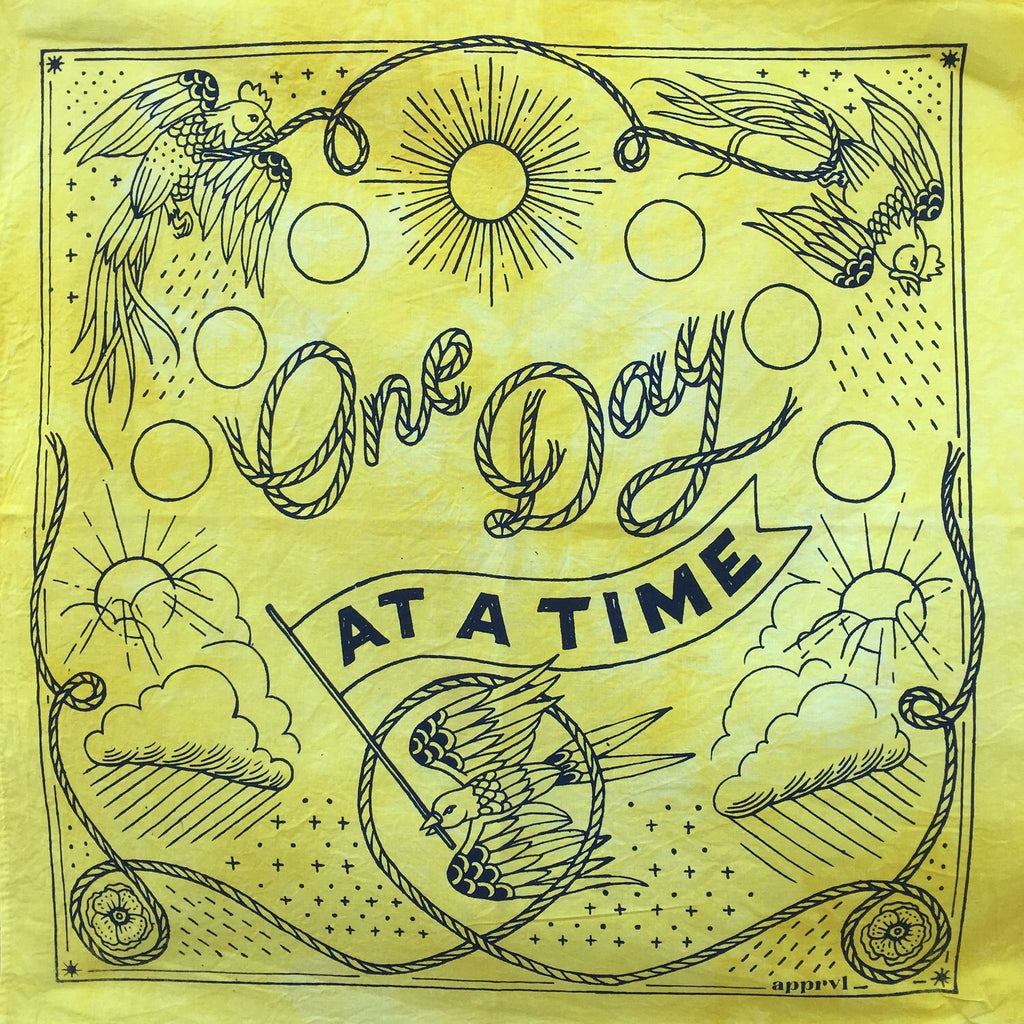 Yellow Hand Dyed Bandana | One Day at a Time Bandana | Apprvl Bandanas | Golden Rule Gallery | Excelsior, MN