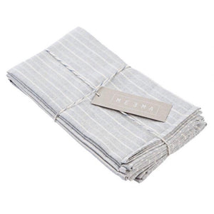 Grey Striped Cotton Napkin - Set of 4