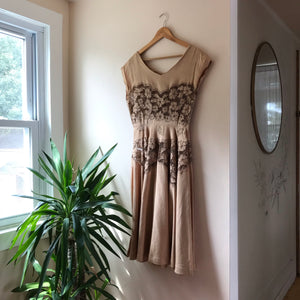 Tandem Vintage Almond Lace Cut Outs 60s Party Dress