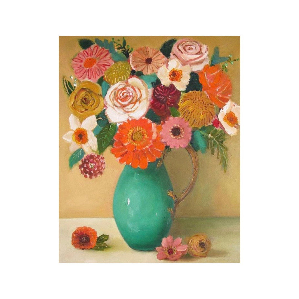Wheat Roses Floral Still Life Art Print