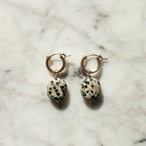 Dalmatian Jasper Hoop Earrings