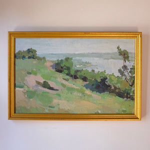 The Riverbank in Spring Vintage Impressionist Landscape Oil Painting