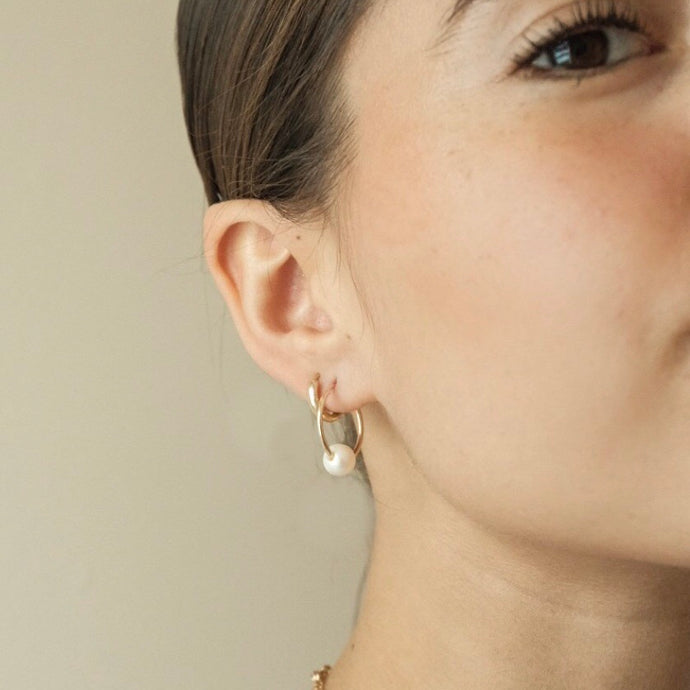 Threaded Pearl and Gold Hoops
