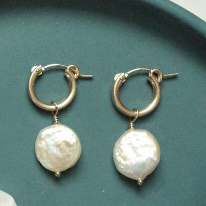 14kt Gold Hoop Earrings With Dangling Pearls