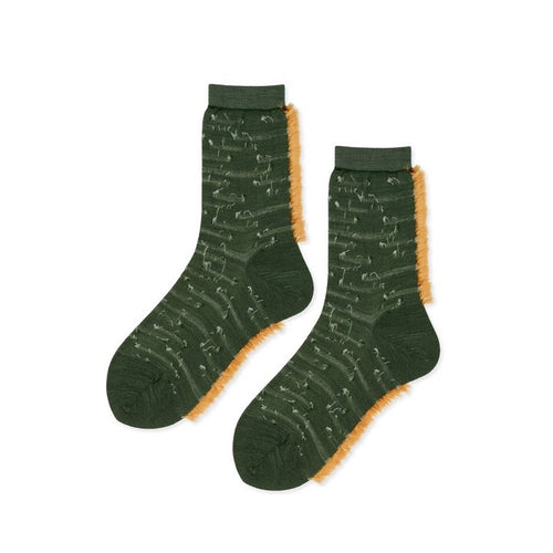 Pintuck Fringe Crew Socks in Green