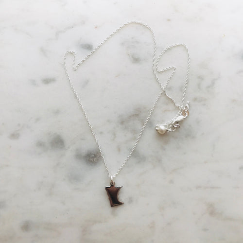 Sterling Silver Minnesota Charm Necklace