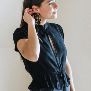 Ella Blouse In Sheer Black