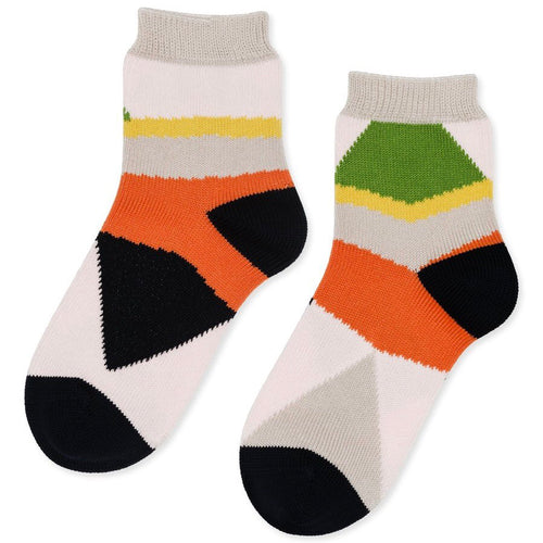 Colorblock Short Crew Socks in Orange