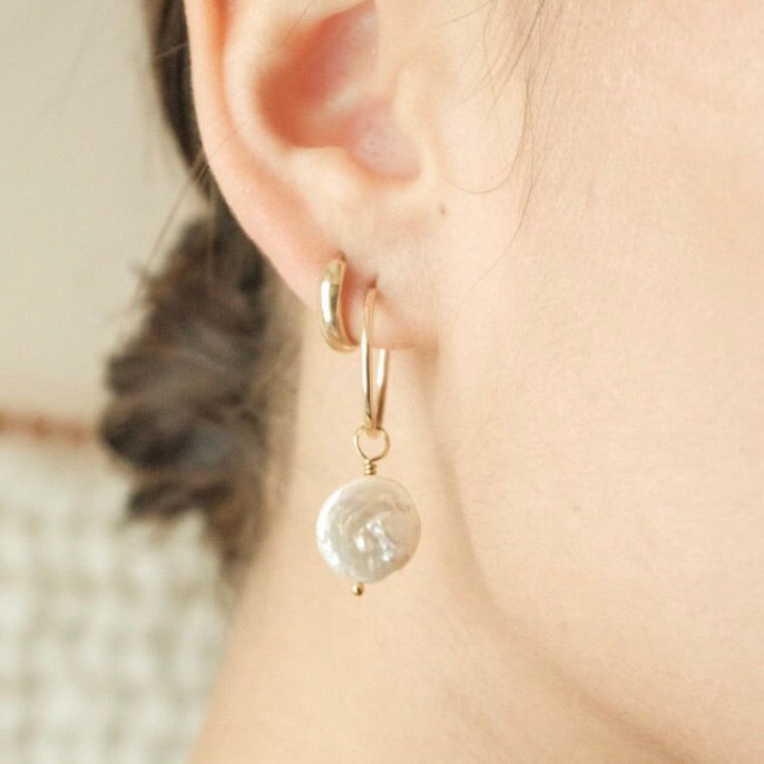 Model Wearing Gold Coin Pearl Hoop Earrings