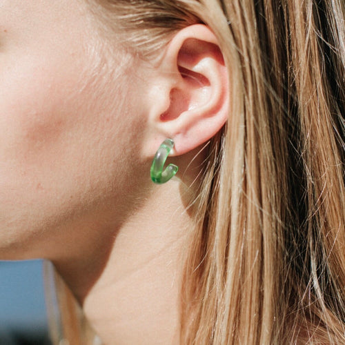 Vintage Hoop Earrings in Translucent Green