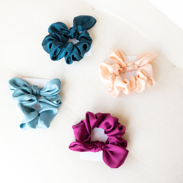 Satin Scrunchie Bow | BRITTs. BOWs | Small Satin Scrunchies | Golden Rule Gallery | Excelsior, MN