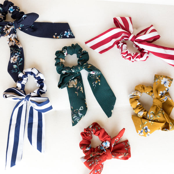 Floral Scrunchie with Bow | Flower Scrunchie | Britts Bows | Hair Accessories | Golden Rule Gallery | Excelsior, MN