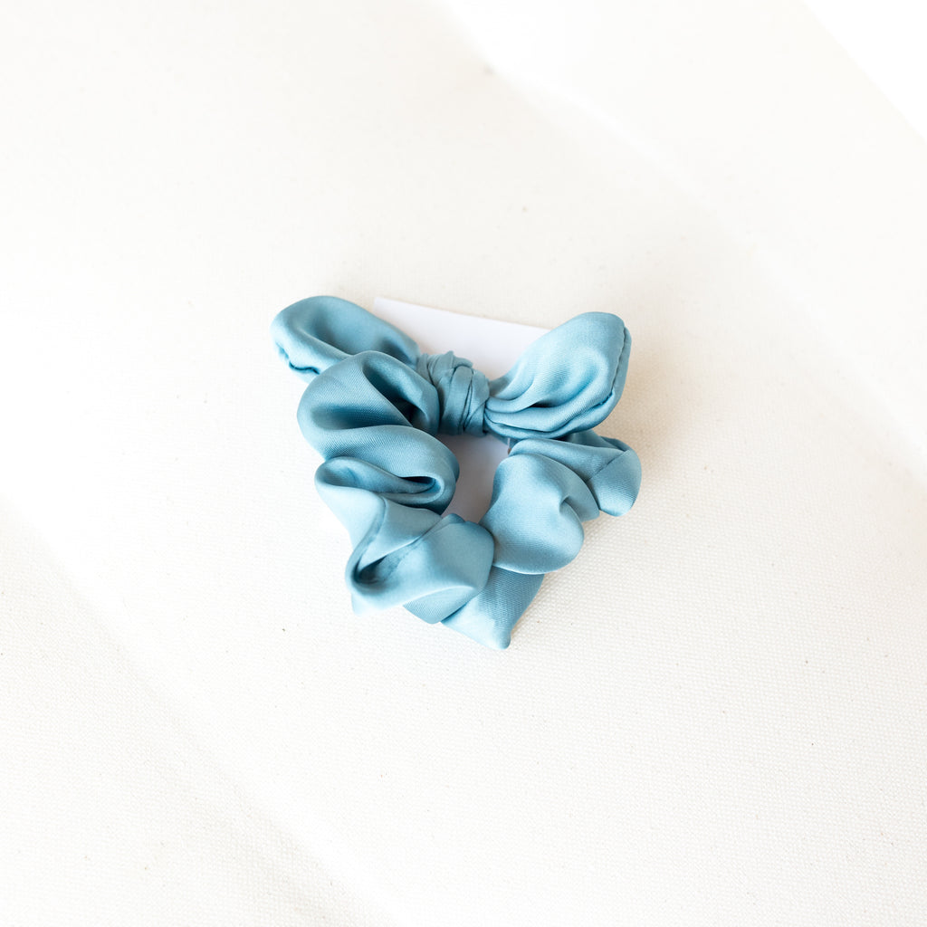French Blue Satin Bow Scrunchie | Blue Satin Scrunchies | Britts Bows | Golden Rule Gallery | Excelsior, MN