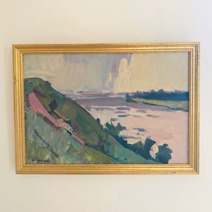 Hillside River View Vintage Oil Painting