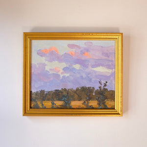 Tree Line after Sunset Vintage Impressionist Landscape Oil Painting