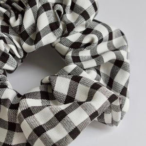 Black And White Gingham Scrunchie