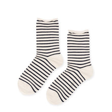 Load image into Gallery viewer, Nautical Stripe Crew Socks in Blue