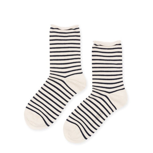 Nautical Stripe Crew Socks in Blue