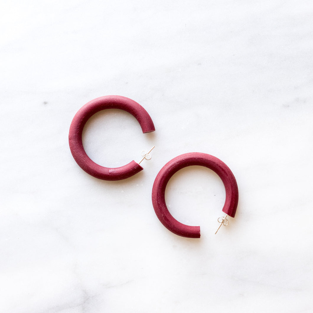 Small Crimson Polymer Clay Hoops
