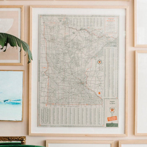 Vintage 1940 Texaco Touring Map of Minnesota Framed in Maple