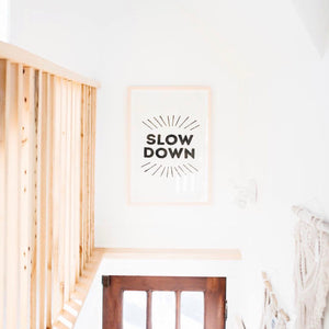 Slow Down English Tea Towel