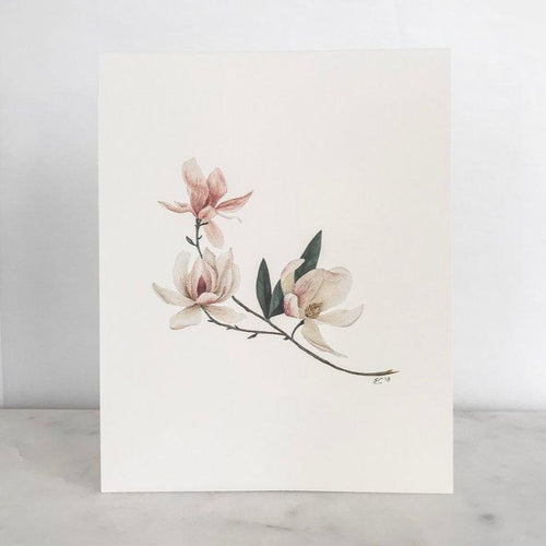 Watercolor Magnolia Art Print