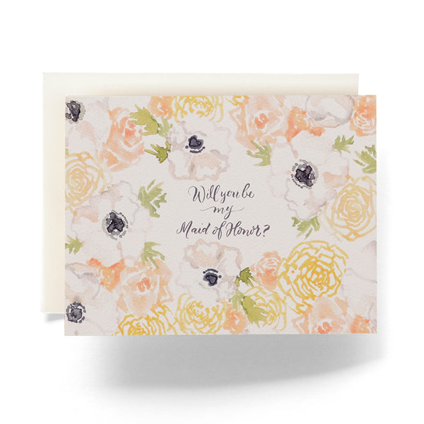 Will You Be My Maid of Honor Card | Maid of Honor Card | Wedding Card | Floral Maid of Honor Card | Antiquaria | Golden Rule Gallery | Excelsior, MN