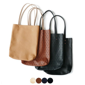 Black Perforated Leather Tote