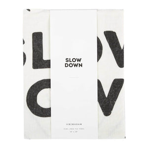 Wrapped Slow Down Tea Towel In Packaging