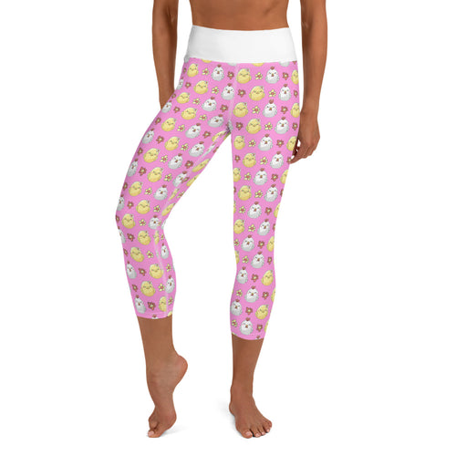 Pink Sleepy Chick Yoga Capri Leggings