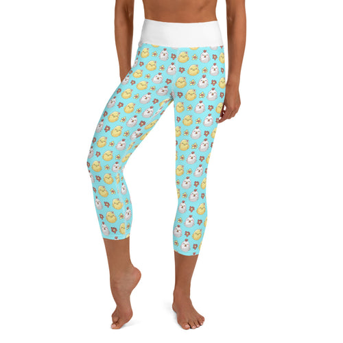 Blue Sleepy Chick Yoga Capri Leggings