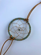 Load image into Gallery viewer, Dream Catcher Bracelet Green Leather