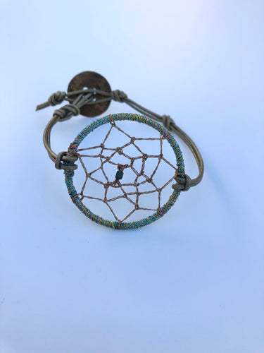 Dream Catcher Bracelet Green Leather