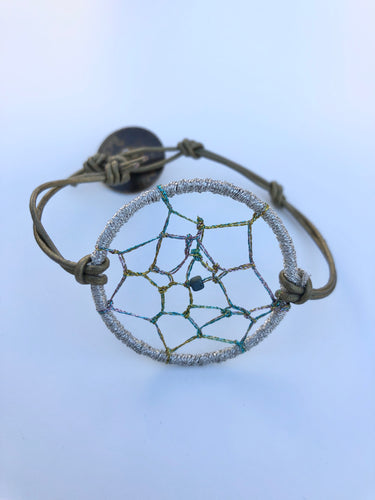 Dream Catcher Bracelet Silver with Gold Leather
