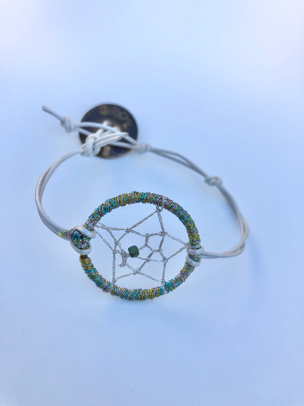 Dream Catcher Bracelet Small with White Leather