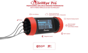 GrillEye® PRO Plus a revolutionary grilling and smoking thermometer with CLOUD & hybrid-wireless