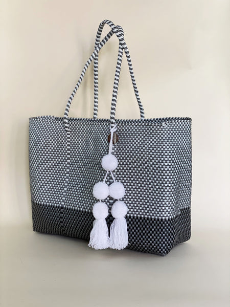 Tote - Silver and White + B Black
