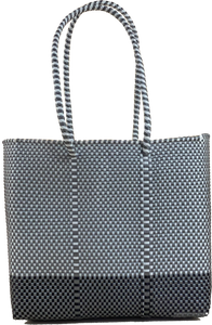 Small Tote - Silver and White + B Black and silver