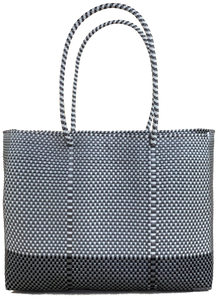 Tote - Silver and White + B Black and Silver