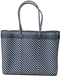 Tote - Lateral Black and White Stripes