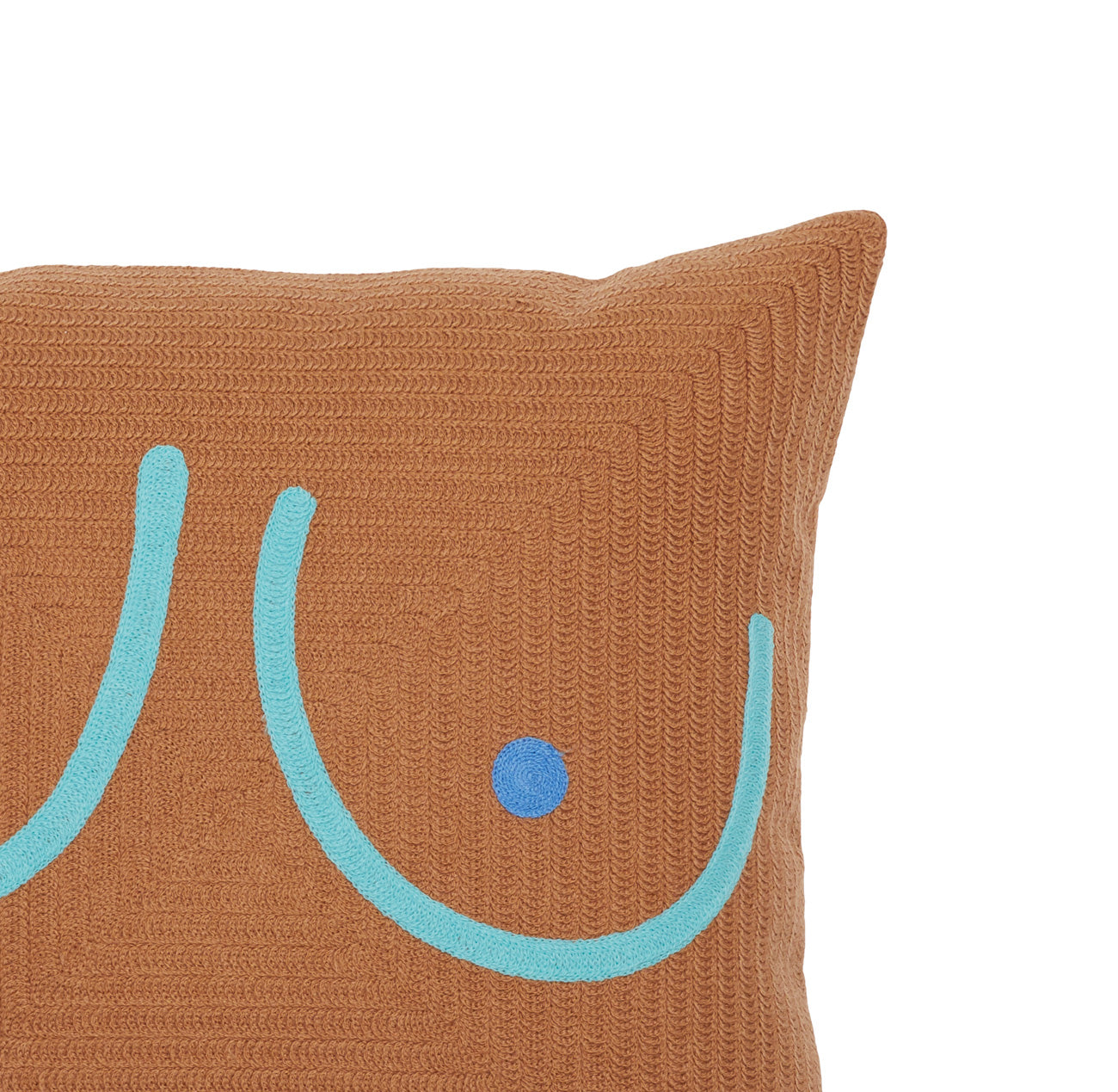Brown Boob Pillow w/ Teal