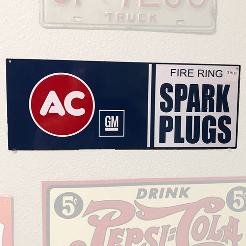 AC GM Spark Plugs Vintage Sign