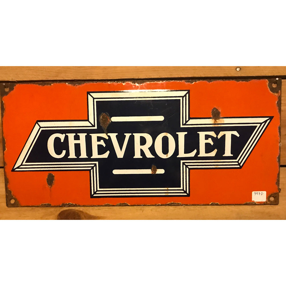 Chevrolet Logo Orange Vintage Sign
