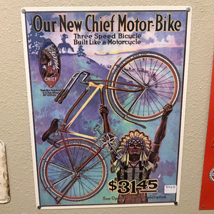 Chief Bicycles 3 Speed Vintage Sign