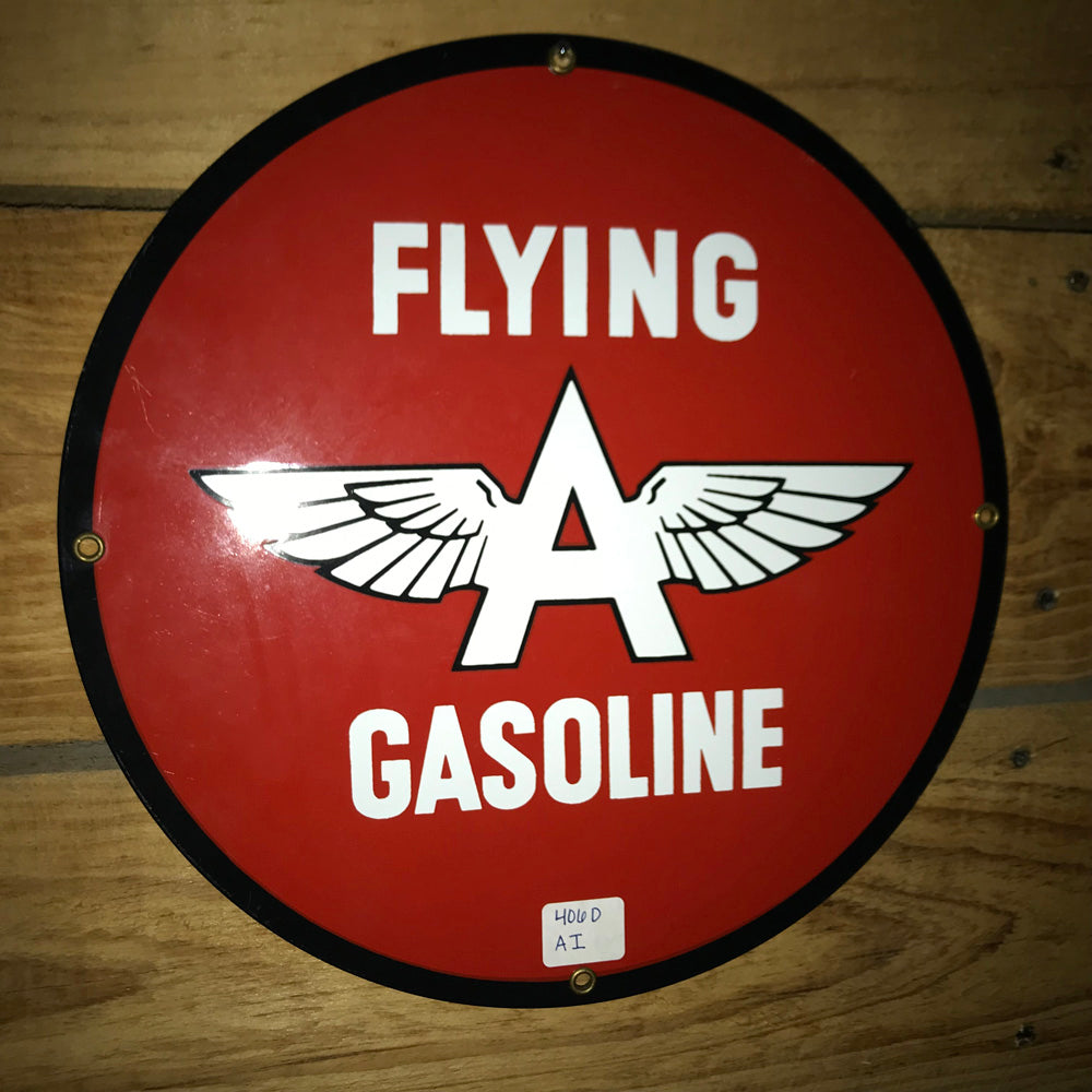 Flying A Gasoline Round Vintage Sign